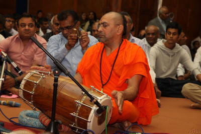 Sants play traditional Indian instruments during the Janmashtami - Anniversary of the manifestation of Sadguru Shree Ramanand Swami