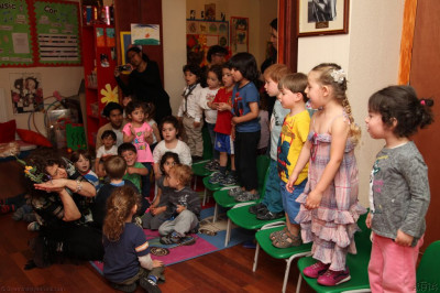 The children sing a traditional hymn in Hebrew