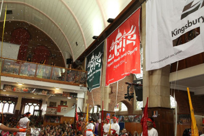 Large banners of the festival logo are unveiled