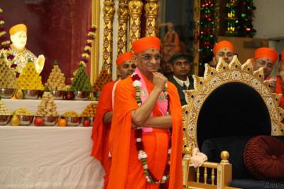 Acharya Swamishree watches the performance