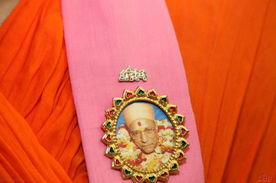 A lapel pin as worn by a sant