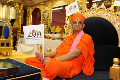 Acharya Swamishree gives darshan holding a festival flag