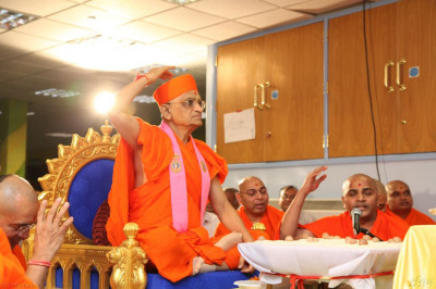 His Divine Holiness Acharya Swamishree and Sants perform the mahapoojan ceremony welcoming Lord Shree Swaminarayanbapa Swamibapa to this location