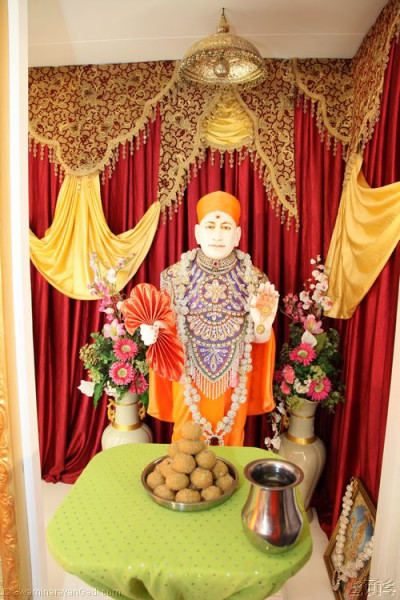 Traditional Indian sweets are offered to Lord Shree Swaminarayanbapa Swamibapa