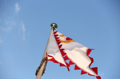A close up of the new temple flag at Shree Abji Bapashree House at Kingsbury