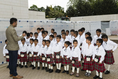 The very young cadets of Shree Muktajeevan Pipe Band line up dressed in their traditional Scottish uniforms