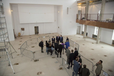 Disciples take the Mayor of London Boris Johnson on a tour inside the nearly completed Shree Swaminarayan Mandir Kingsbury