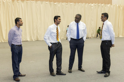 West Indies cricket legend Clive Lloyd CBE, one of the most successful test captains in history speaks to disciples who are members of Swamibapa Cricket Club inside Shree Purushottam Mahal