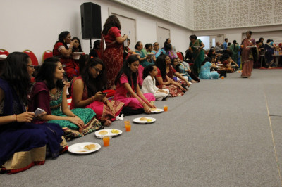 Disciples dance on prasad lunch