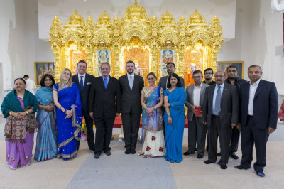 Propsective local Conservative candidates and councillors inside Shree Swaminarayan Mandir Kingsbury