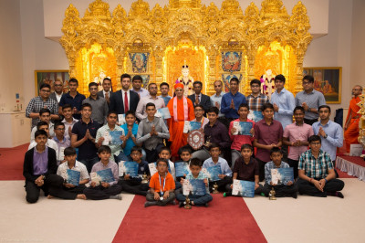 His Divine Holiness Acharya Swamishree blesses all award winners, teachers and teaching assistants