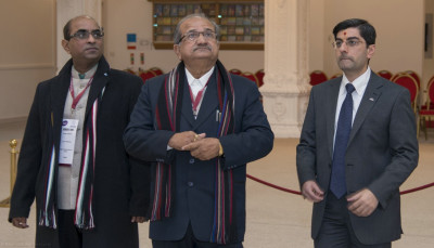 Shri Bhupendrasinh Jii Chudasama, a senior Cabinet Minister in the Government of the State of Gujarat visits Shree Swaminarayan Mandir Kingsbury