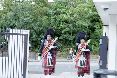 Shree Muktajeevan Pipe Band London lead the procession towards the main mandir hall
