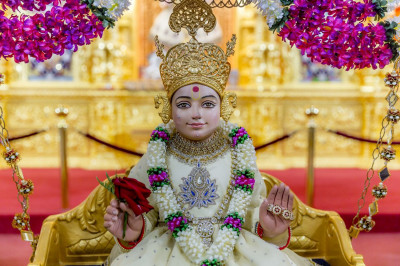Lord Swaminarayan presiding on an illustrious swing during Janmashtami