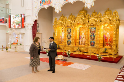 The Mayor of Brent Lesley Jones is given a brief tour of the mandir by the trustees and disciples of Shree Swaminarayan Mandir Kingsbury