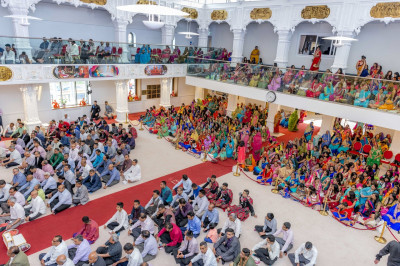 Hundreds of disciples gather to celebrate the first anniversary of Shree Swaminarayan Mandir Kingsbury and the 15th anniversary of the installation of the murti of Lord Shree Swaminarayanbapa Swamibapa