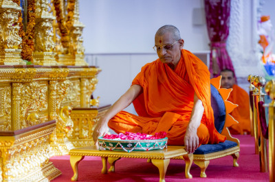 His Divine Holiness Acharya Swamishree meditates upon the divine form of Lord Shree Swaminarayan