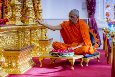 His Divine Holiness Acharya Swamishree showers fresh flower petals at the divine lotus feet of the Lord as all of the Lord's 108 names are recited