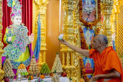 His Divine Holiness Acharya Swamishree offers a piece of the peacock themed cake to Lord Shree Swaminarayan