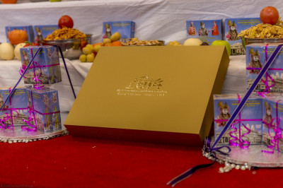 The grand golden unique photo album capturing all of the events up to the grand opening of the mandir last year is presented to the Lord