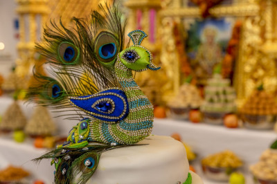 A close up of the peacock themed anniversary celebration cake