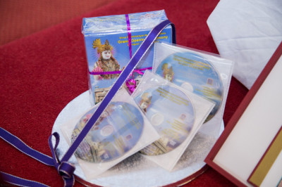 The DVD and blue-ray sets of the grand opening of Shree Swaminarayan Mandir Kingsbury