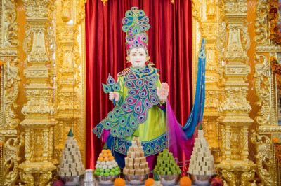 Divine darshan of Lord Shree Swaminarayan dining on delicious annakut items
