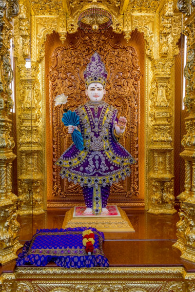 Divine darshan of Lord Shree Swaminarayan adorned in majestic purple