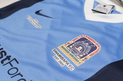 A close up of the new Swamibapa FC football kit sponsored by Ford