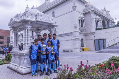 The Swamibapa FC team dressed in their new colours at the chhatri