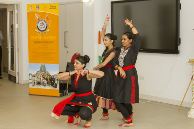 Disciples perform a traditional Indian dance