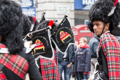 Shree Muktajeevan Swamibapa Pipe Band London arrive at the starting point of the London New Year's Day Parade 2016