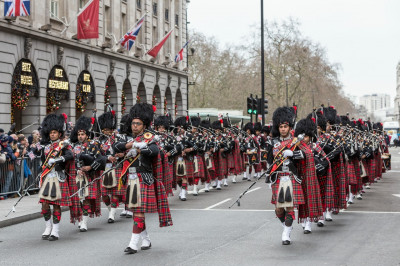 Shree Muktajeevan Swamibapa Pipe Band London perform marching past the Ritz Hotel in the LNYDP 2016