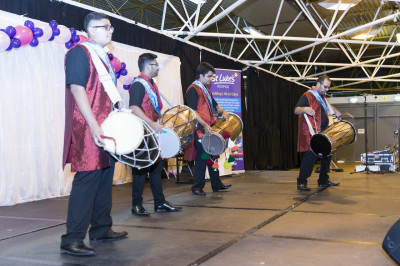 Disciples play dhol to entertain all participants