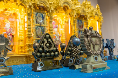 The set of trophies at the divine Lotus feet of Lord Shree Swamianrayanbapa Swamibapa