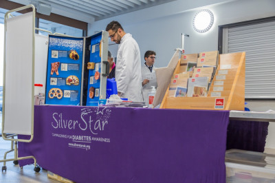 The Silver Star team set up their diabetes awareness clinic in the hall