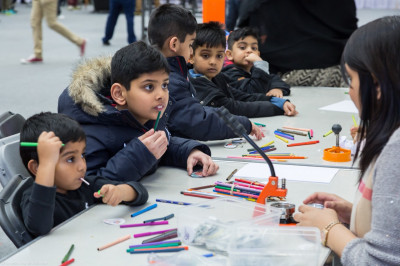 Children take part in the many arts and crafts activites