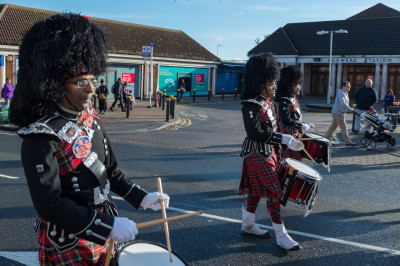 Shree Muktajeevan Swamibapa Pipe Band perform leading the procession as they march past Edgware tube station