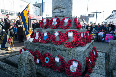 The poppy wreaths laid at the memorial