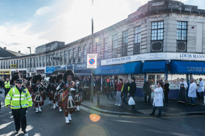 Shree Muktajeevan Swamibapa Pipe Band perform leading the procession back to New Edgware Royal British Legion Headquarters