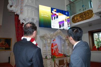 The numerous community and welfare activities organised through the mandir is shown to RAdm Mackay