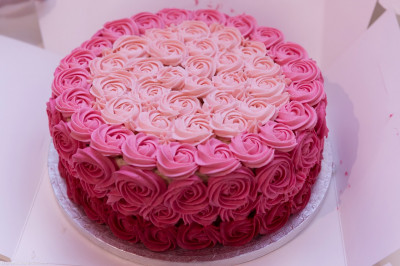 The delicious pink cake offered to Lord Shree Swaminarayan