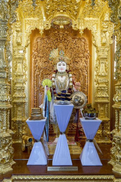 Divine darshan of Lord Shree Swaminarayan dining on various sweet and savoury items