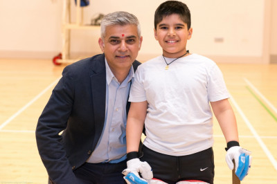 Sadiq Khan MP with a promising young cricketer