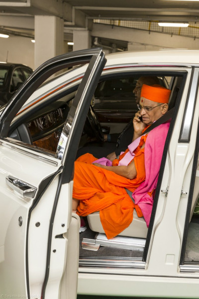 His Divine Holiness Acharya Swamishree leaves the airport
