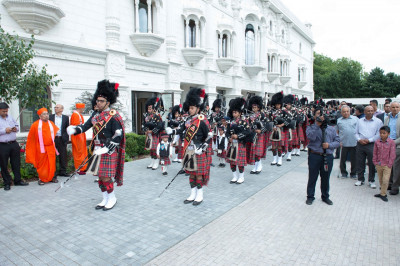 Shree Muktajeevan Swamibapa Pipe Band London perform marching with cadets into the complex