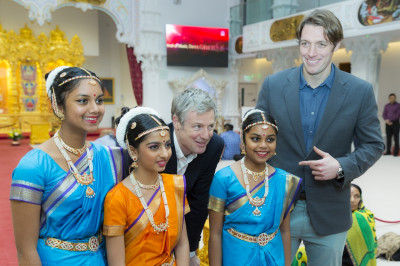 Young disciples dressed in Bharatnatyam classical Indian dance dress meet Zac Goldsmith