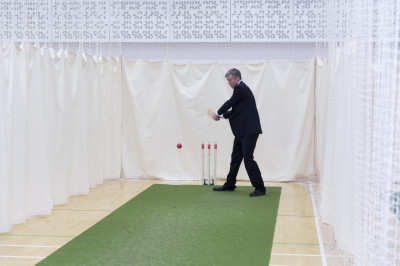 The hall is setup for the cricket practice that will be taking place later in the evening