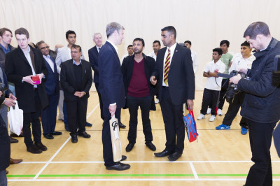 Zac Goldsmith arrives at Shree Purushottam Mahal where disciples explain some of the many community activities that the hall is used for