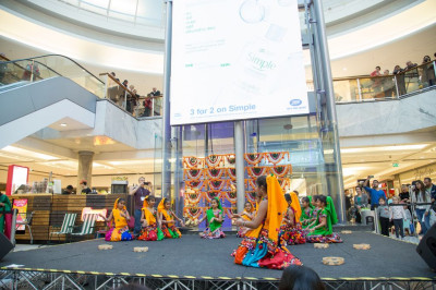 Young disciples perform a devotional dance as part of the Diwali celebrations in Brent Cross Shopping Centre